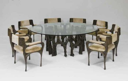 Paul Evans (1931-1987), Dining Table and Eight Armchairs (Sculpted Bronze), ca. 1968, Epoxy with applied bronze over steel frame with upholstery; table base: 27.5 x 42 inches; chairs: 32 x 26 x 24 inches, Conn Family Trust. Photography by Jason Wierzbicki.