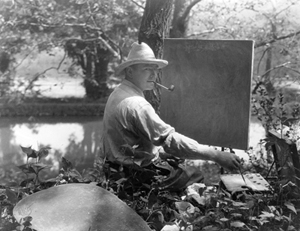 Daniel Garber at his easel, Photo courtesy of the Garber family.